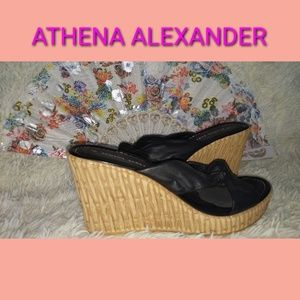 🎊🎊🎊ATHENA ALEXANDER BLACK WEDGE SANDALS🎊🎊